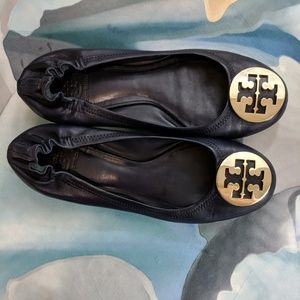Tory Burch Discontinued Reva Navy Gold Ballet Flat